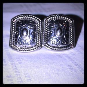 Jewelry - VTG BOHO BRIGHTON LIKE CLIP ON SILVER EARRINGS